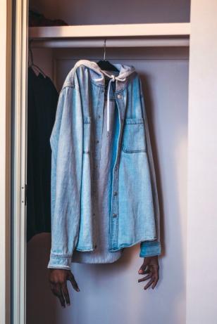 Blue button up long sleeve shirt