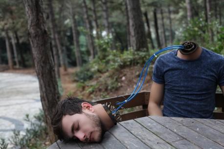 Robot man wearing blue crew-neck t-shirt